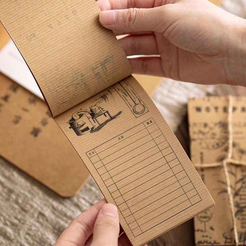 60 pièces rétro papier Kraft Message note oignon papier Vintage rayures champignon plante illustré dérive bouteille mémo bloc-notes papier