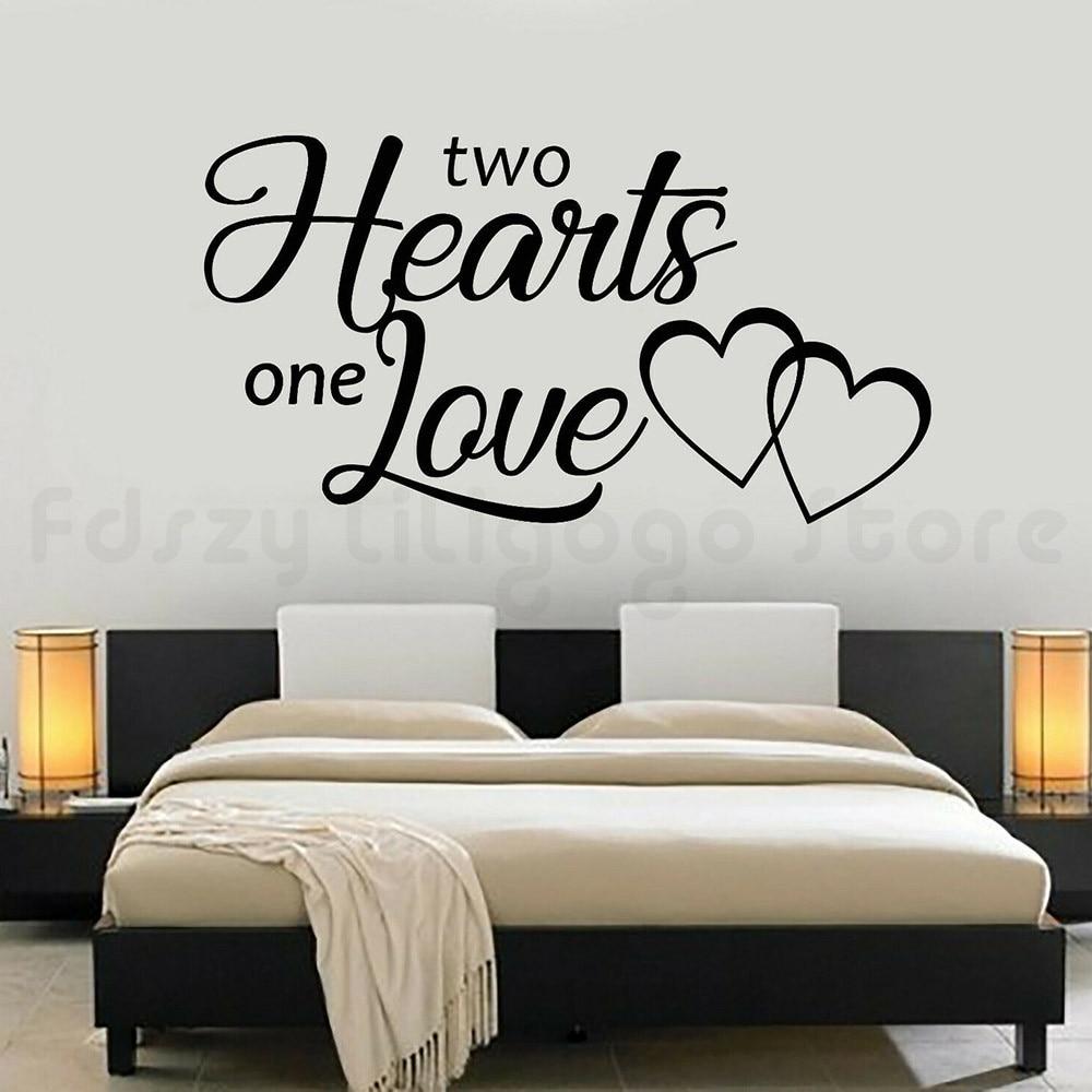 W liście do rzymian winylu ścienne naklejka wystrój domu dwa serca jedna miłość napis naklejki ścienne dla dekoracje czy wnętrz czy H788