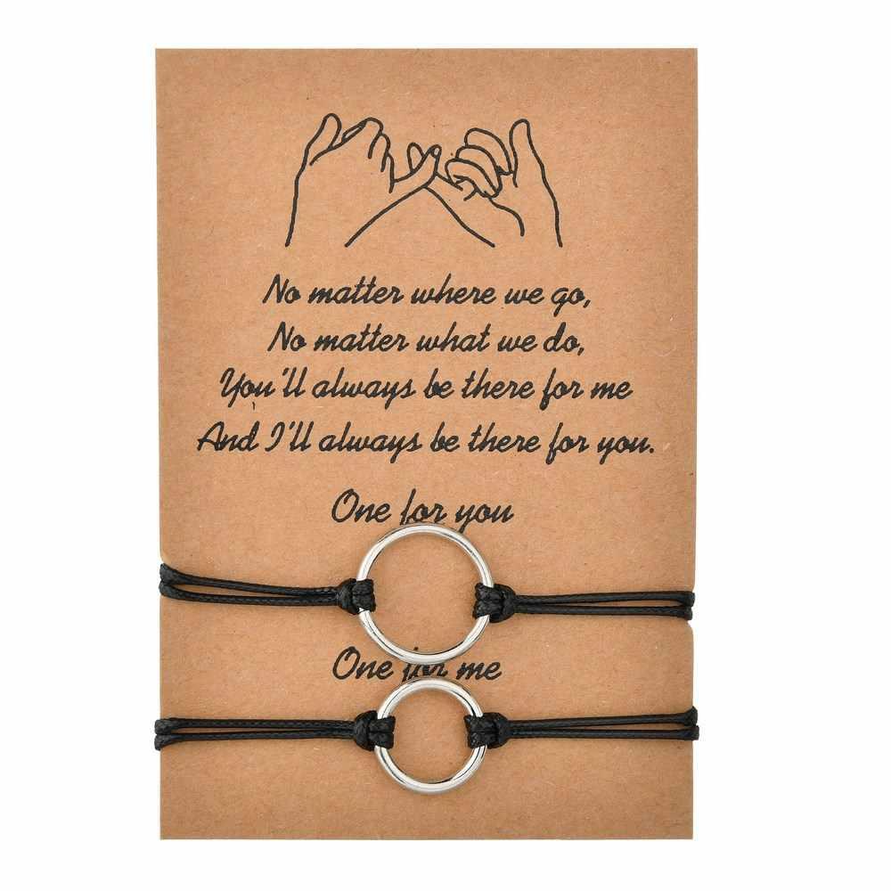 MissCyCy 2 unids/set pulsera ajustable de cuerda de cuentas para mujeres y hombres 2020 nuevas pulseras de pareja brazaletes joyería de regalo del Día de San Valentín