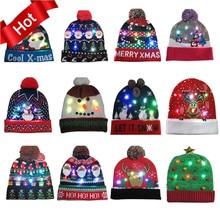 42 дизайна, светодиодный Рождественский головной убор, Шапка-бини, Рождественский Санта-светильник, вязаная шапка для детей и взрослых, для рождественской вечеринки