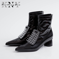 Xiuningyan Fashion Women's Ankle Boots Patent Leather Ladies Martin Boots Handmade Rivet Pointed Toe Autumn Woman Stretch Boots