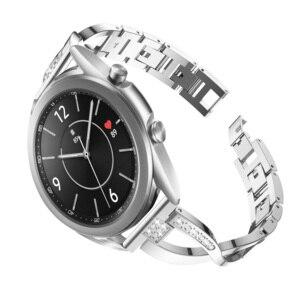 Браслет для Samsung Galaxy Watch 3 45 мм 41 мм, модный металлический сменный Браслет со стразами