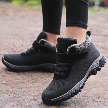 Womens Shoes With Fur Winter Boots Flats Sneakers Warm Walk Shoes Women Casual Rubber Ankle Footwear Female Botas Fashion Tenis