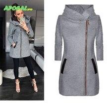 Side Zipper Hooded Trench Coat for Women long sleeved windbreaker Black Casual Female Warm Slim Pockets Outwear