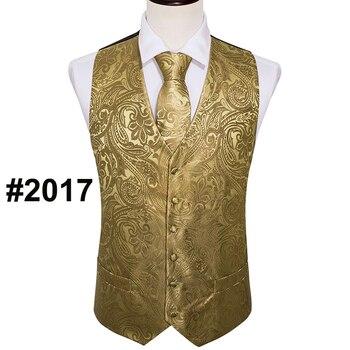 Designer Mens Classic Black Paisley Jacquard Folral Silk Waistcoat Vests Handkerchief Tie Vest Suit Pocket Square Set Barry.Wang 16