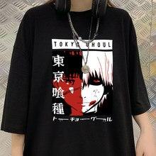 Camiseta de Manga Tokio Ghoul Anime para mujer, Camiseta holgada de dibujos animados de Kaneki Ken, camiseta Harajuku de algodón, ropa de calle