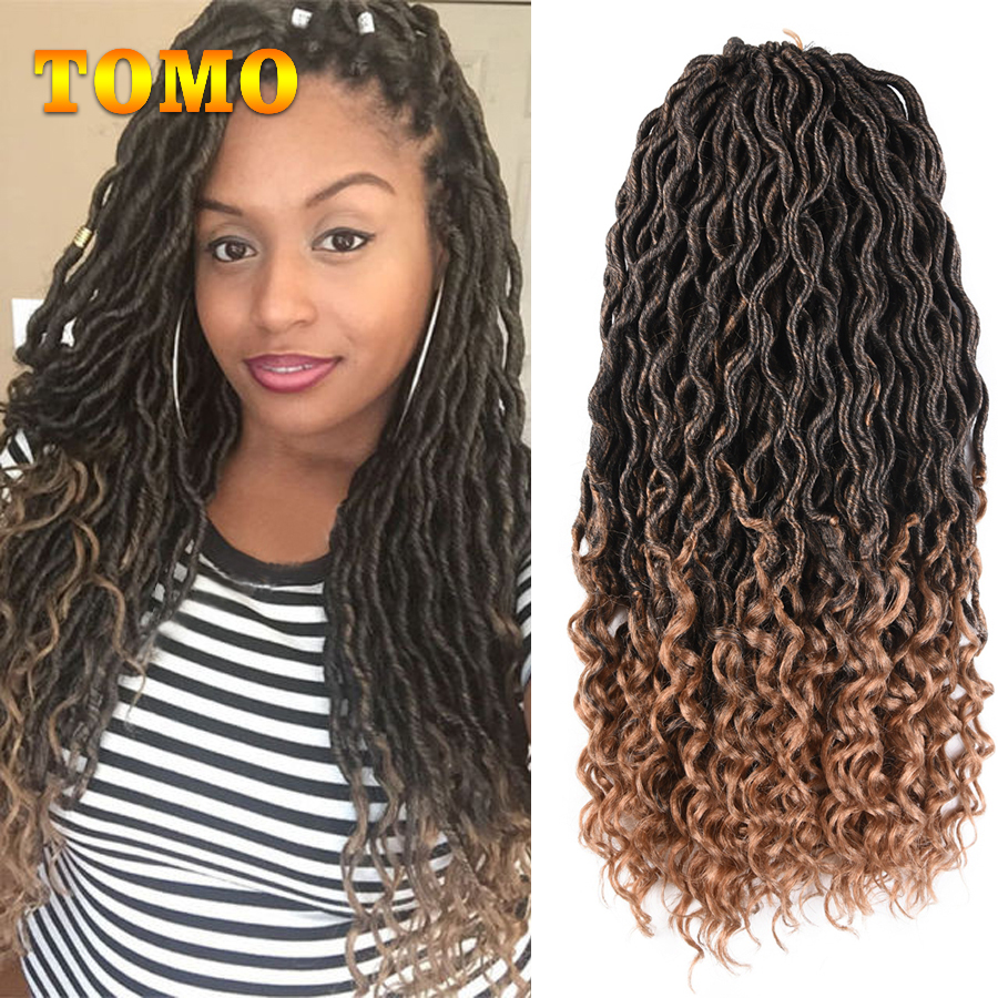 TOMO Bohemian Faux Locs Curly Crochet Braid 20inch 24 Strands Ombre Braiding Extensions Synthetic Crochet Hair for Black Women