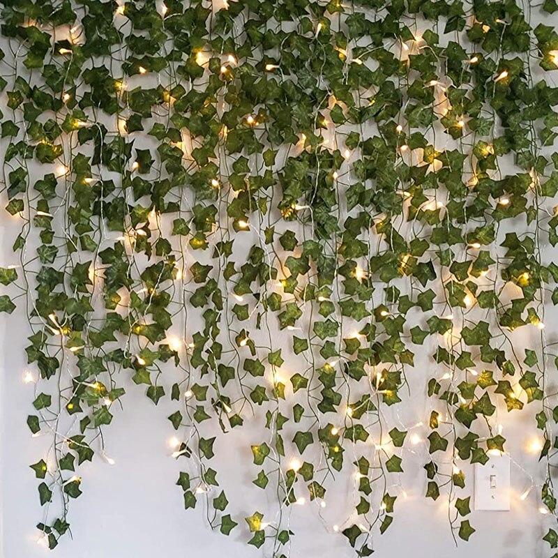 2.3m artificial trepadeira folha verde ivy videira com 2m led luzes da corda diy led folha guirlanda para festa de casamento luz decorativa