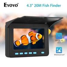 цена на Eyoyo Portable  4.3inch Fish Finder with sun-visor 8pcs LED Night Vision Underwater 1000TVL Fishing Camera 10000mAh Battery