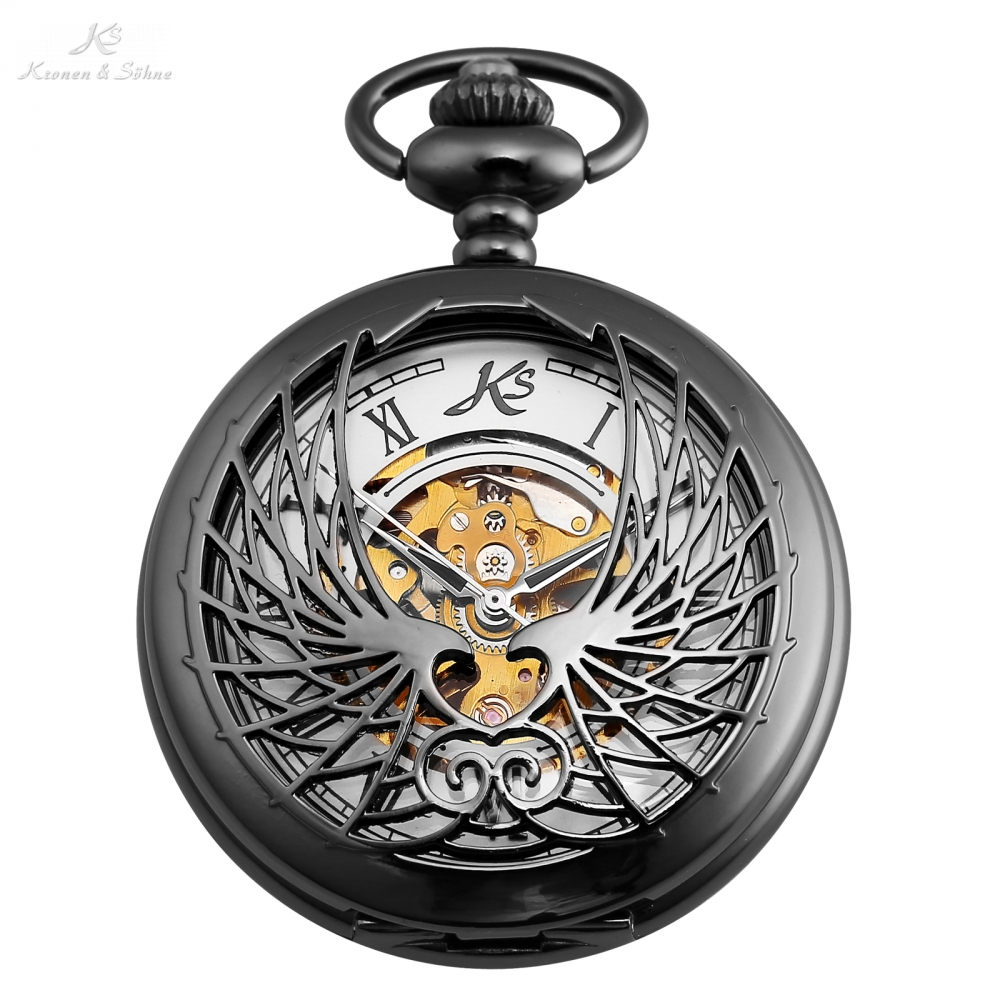 KS Roman Number Black Men Montre Clock Hollow Carving Wings Case Elegant Mechanical Pocket Watch Fobs Chain + Gift Box /KSP123