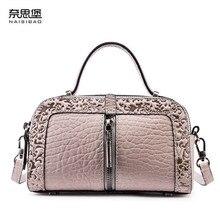 NAISIBAO 2019 New women genuine leather bag embossing fashion Luxury handbags shoulder mini small cowhide