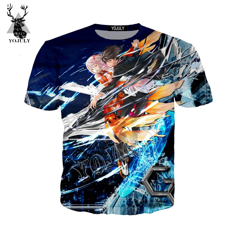 YOJULY Summer Casual Unisex Short sleeve <font><b>tshirt</b></font> Super power Anime <font><b>Guilty</b></font> <font><b>Crown</b></font> 3D Print Harajuku T shirts Men Top Clothing Y134 image