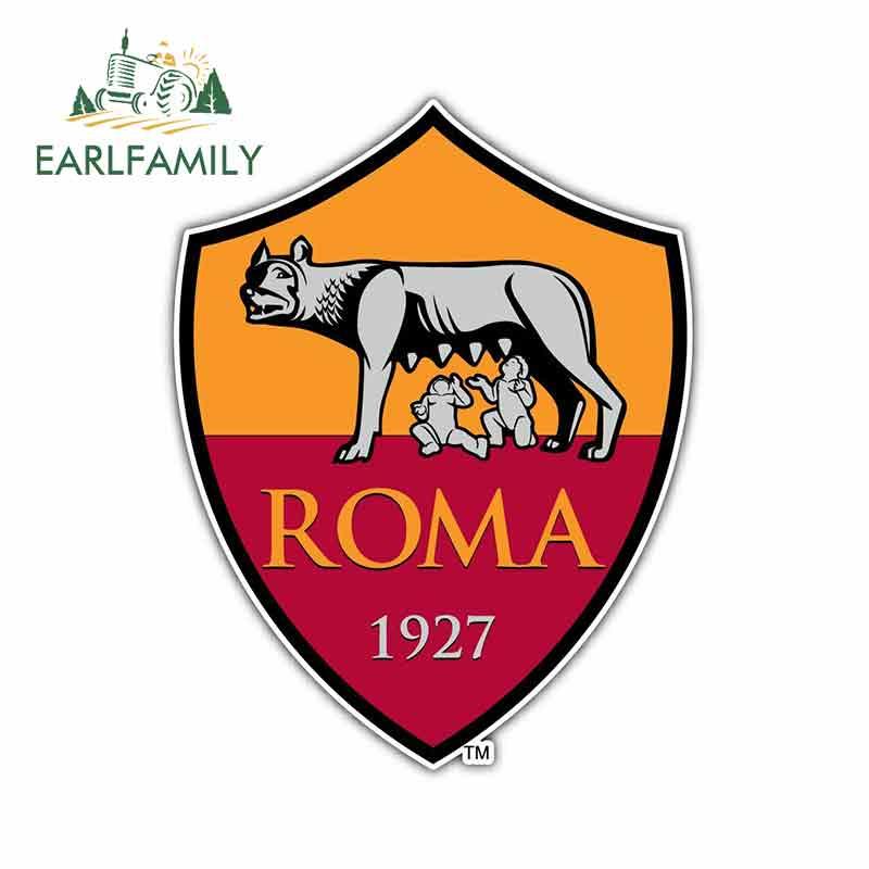 EARLFAMILY 13cm X 10.1cm For AS Roma FC Italy Cartoon Funny Car Stickers Windshield Bumper Windows Vinyl JDM Car Accessories