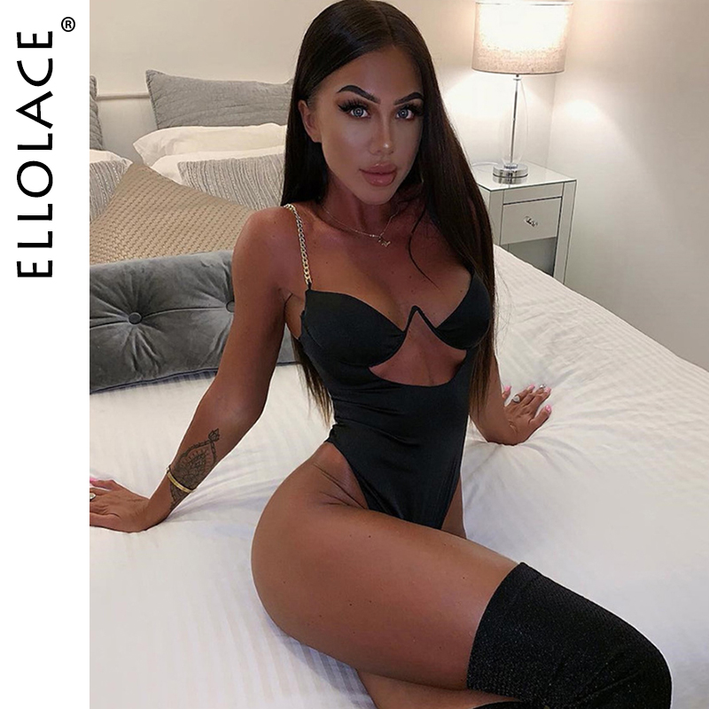 Ellolace 2019 New Sexy V Neck Jumpsuit Women Chain Strap Cut Out Low Cup Skinny Bodysuit Women Rompers Female Jumpsuit Overalls