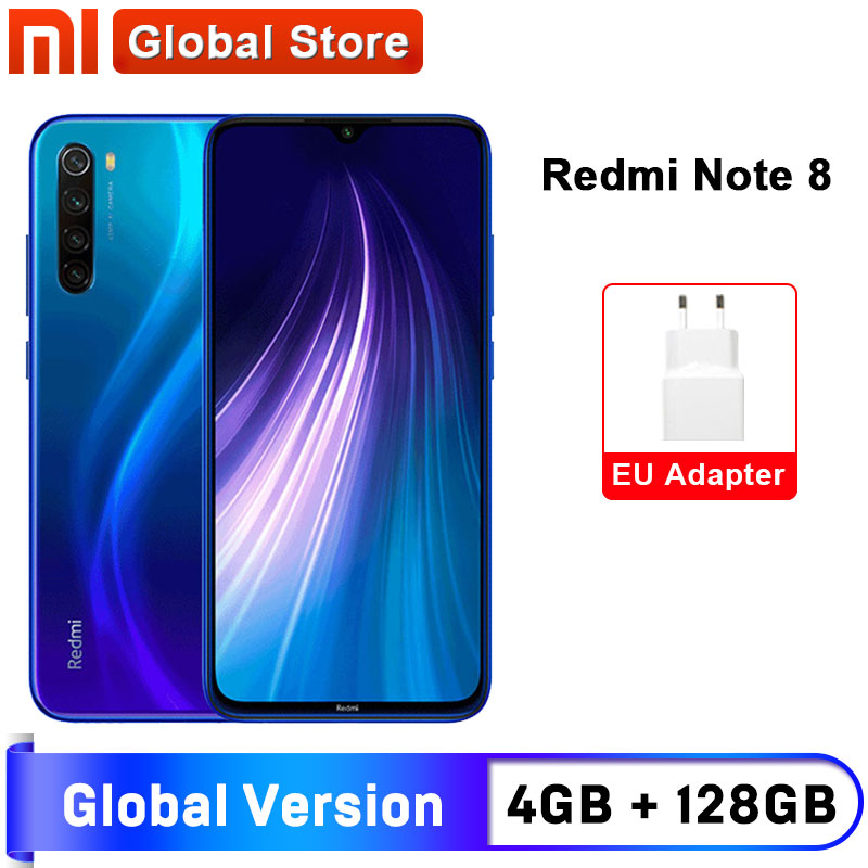 "In Stock Global Version Xiaomi Redmi Note 8 4GB 128GB Snapdragon 665 Octa Core Smartphone 6.3"" 48MP Quad Rear Camera"