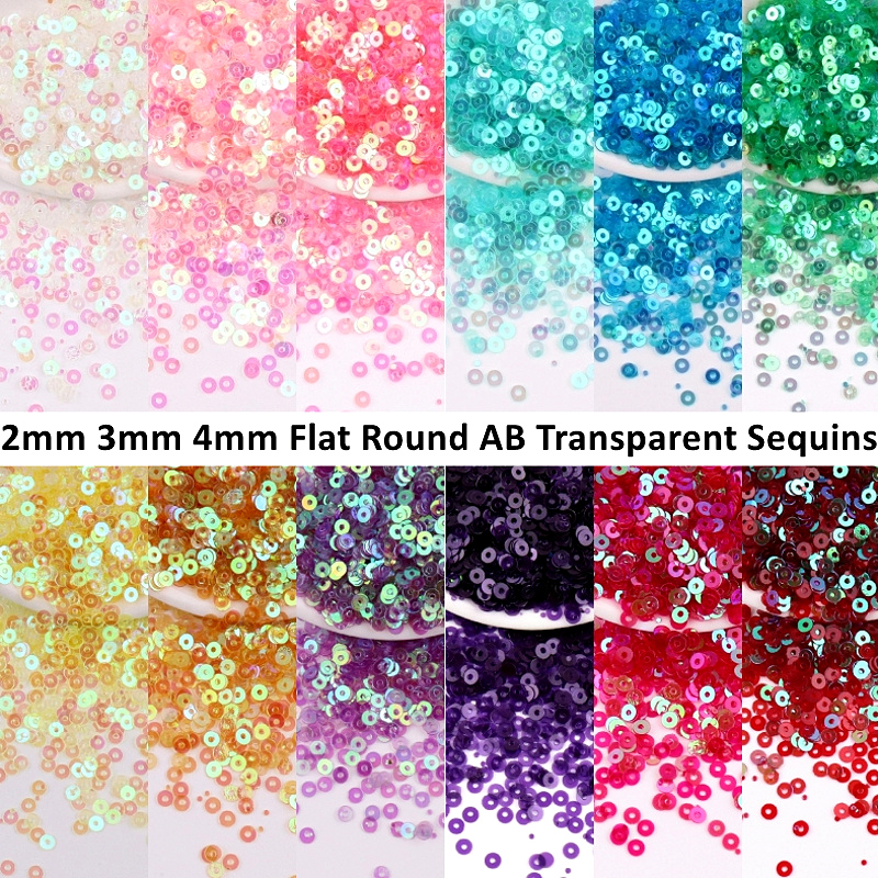 AB Transparent Sequins 2mm 3mm 4mm Flat Round Austria Sequin Paillettes DIY Sewing Wedding Craft Women Cloth Embroidery Material