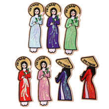 1pcs  Sequin women's icon Embroidered Iron patch dress DIY stripe dress sticker custom Badge embroidered rose patch tee dress