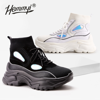 Hemmyi 2019 New Trendy Shoes Woman High Top Sneakers Women Platform Shoes Ankle Boots Basket Femme Chunky Glitter Sock Shoes 1