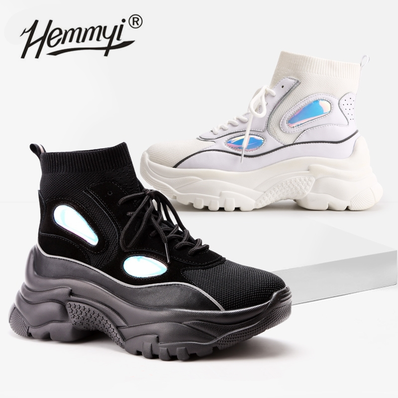 Hemmyi 2019 New Trendy Shoes Woman High Top Sneakers Women Platform Shoes Ankle Boots Basket Femme Chunky Glitter Sock Shoes