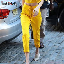 InstaHot Yellow Casual Harem Pants Lace Up High Waist Office Lady Slim Fashion 2019 Trousers Drawstring Autumn Streetwear