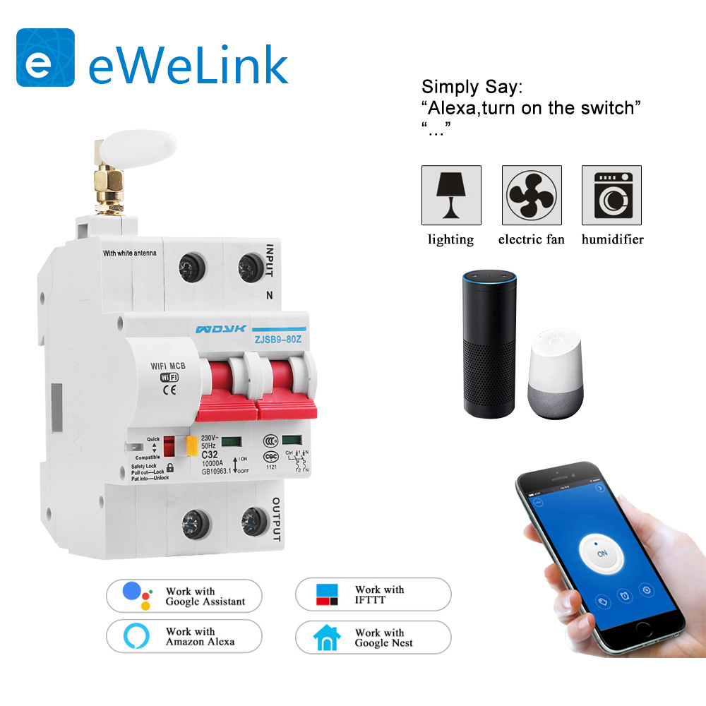 2P 32A WiFi Smart Circuit Breaker Switch overload short circuit protection work with Amazon Alexa and Google home for Smart home