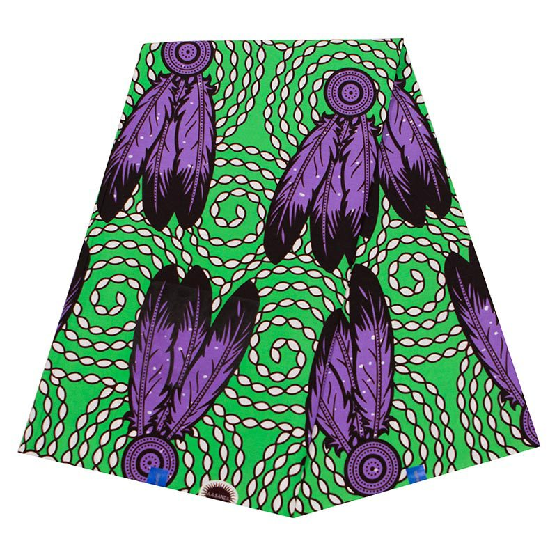 2019 New Arrivals Fashion African Fabric 100% Cotton Purple Feather Print Green Fabric African Veritable Ankara