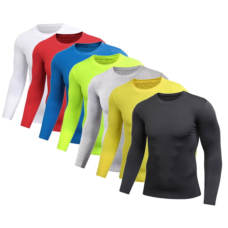 DIHOPE New Spring Men's Pure Color Sports Tight Elastic Sweating Quick Drying Long Sleeved Shirt Compression Fitness Shirt 2020