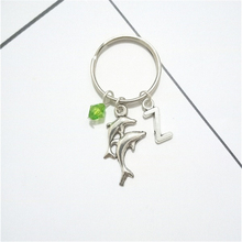 Charm Keychain Green-Bead Dolphin Animal with Stamped Initials