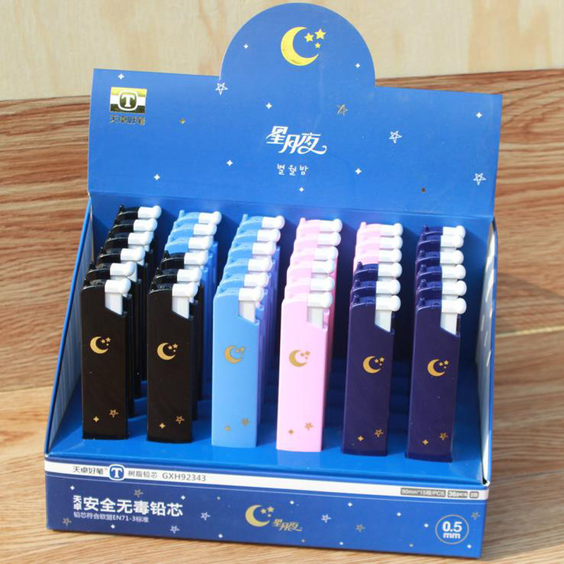 4 Pcs/set Kawaii 0.5mm 2B Starry Sky Moon Star Automatic Mechanical Pencil Replacement Refills Leads Stationery Gifts