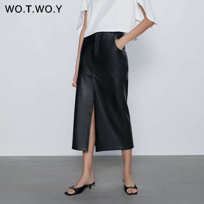 WOTWOY Split Black Leather Skirts Women Summer Straight High-Waist  Skirts Women Casual Mid-Calf Solid Skirts Femme Pockets Soft
