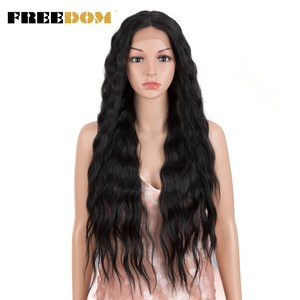 FREEDOM Synthetic Lace Front Wig Long Deep Wavy Ombre Blonde High Temperature Wigs Synthetic Wigs For Black Women Cosplay Wigs