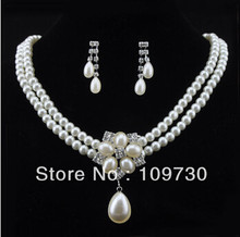 free shipping > Charm Women man-made Jewellery Pearl Necklace Earring Set Wedding Costume(China)