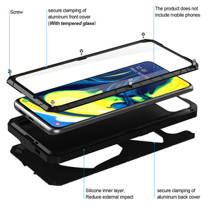 Image 2 - עבור סמסונג גלקסי A80 טלפון מקרה קשה אלומיניום מתכת מזג זכוכית מסך מתנת מגן כיסוי כבד החובה הגנת כיסוי