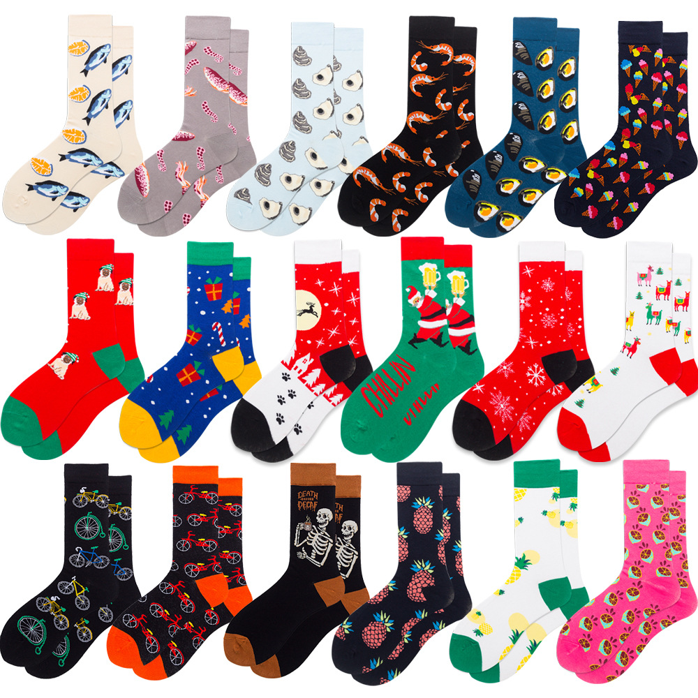 Big Size Colorful Crew Socks Combed Cotton Seafood Christmas Fruits Casual Fashion Autumn Winter Novelty Funny Happy Men Socks