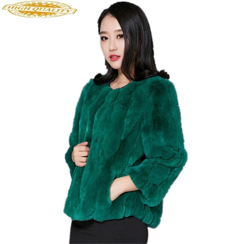 Real Rex Rabbit Fur Coat Natural Fur 2020 Korean Fashion Autumn Winter Jacket Women Genuine Fur Coats Plus Size 116200