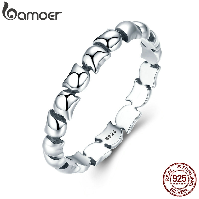 BAMOER Original Design 925 Sterling Silver Cute Cat Stackable Finger Ring For Women Wedding Animal S925 Silver Jewelry SCR047(China)