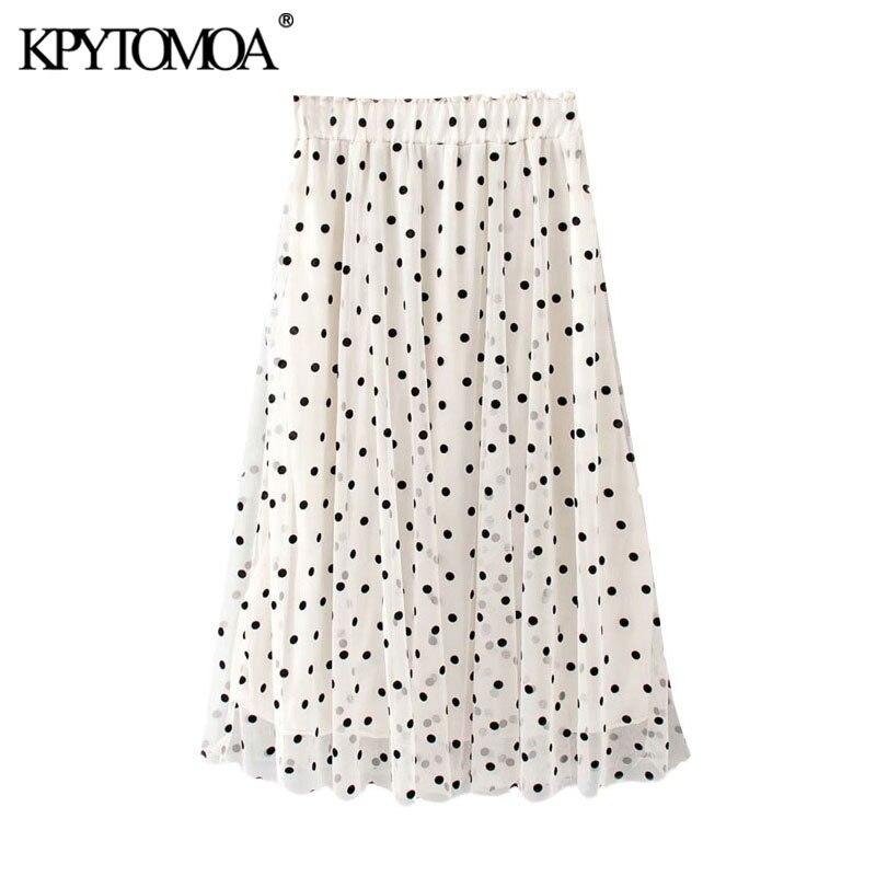 KPYTOMOA Women 2020 Chic Fashion Polka Dot Pleated Mesh Midi Skirt Vintage Elastic Waist With Lining Female Skirts Faldas Mujer
