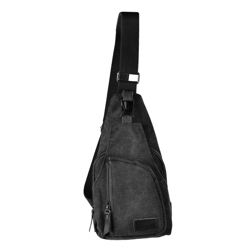 Flrsh Men's Canvas Unbalance Backpack Shoulder Sling Chest/Hiking Bicycle Bag Black