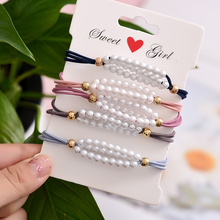 Euhra Pearl and Elastic Rope Sweet Hair Bands Handmade Pear Flower Rubber Band For Womens Girl Headwear Acce