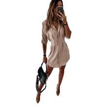 Женское асимметричное платье рубашка однотонное с длинным рукавом