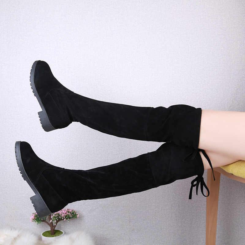 Tamaño 35-41 botas de invierno sobre la rodilla mujeres estiramiento tela de pierna alta y sexy mujer zapatos larga Bota femenina zapatos de mujer