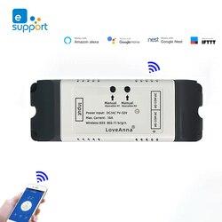 Переключатель Wi-Fi eWeLink, 2 канала, 12 в пост. Тока, 24 В, 32 в перем. Тока, 220 В перем. Тока, контактный выключатель без COM NC, совместим с Google assistant и Alexa