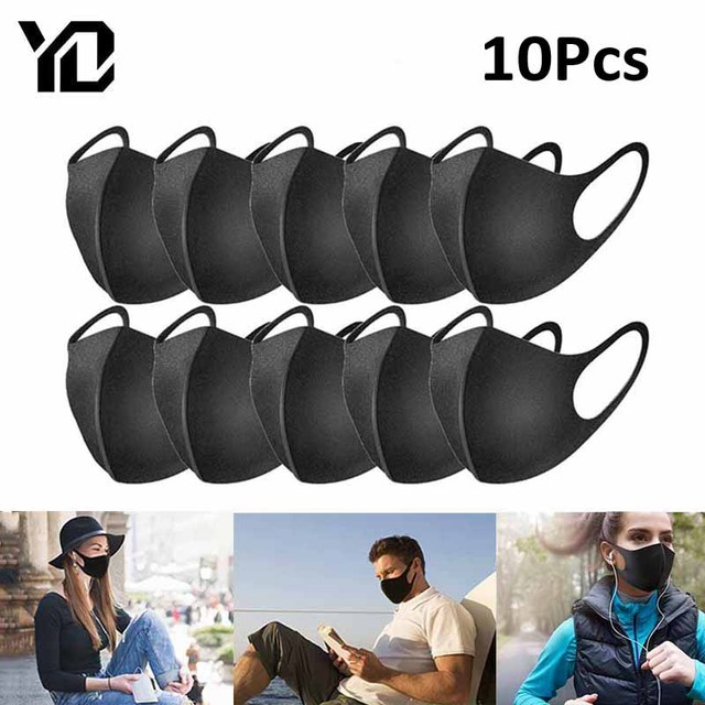 10Pcs Black Cycling Face Mask PM2.5 Anti Dust Mask Filter Windproof Face Mouth Mask Care Reusable Washable Face Cover Mask