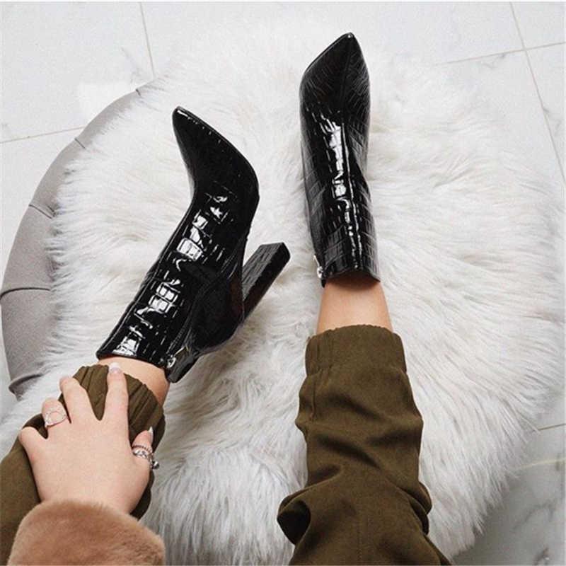 2019 Luxe Ontwerp Vrouwen 11.5cm Hoge Hakken Fetish Laarzen Lederen Blok Wit Hakken Enkellaarsjes Serpentine Chunky Kwaliteit Schoenen