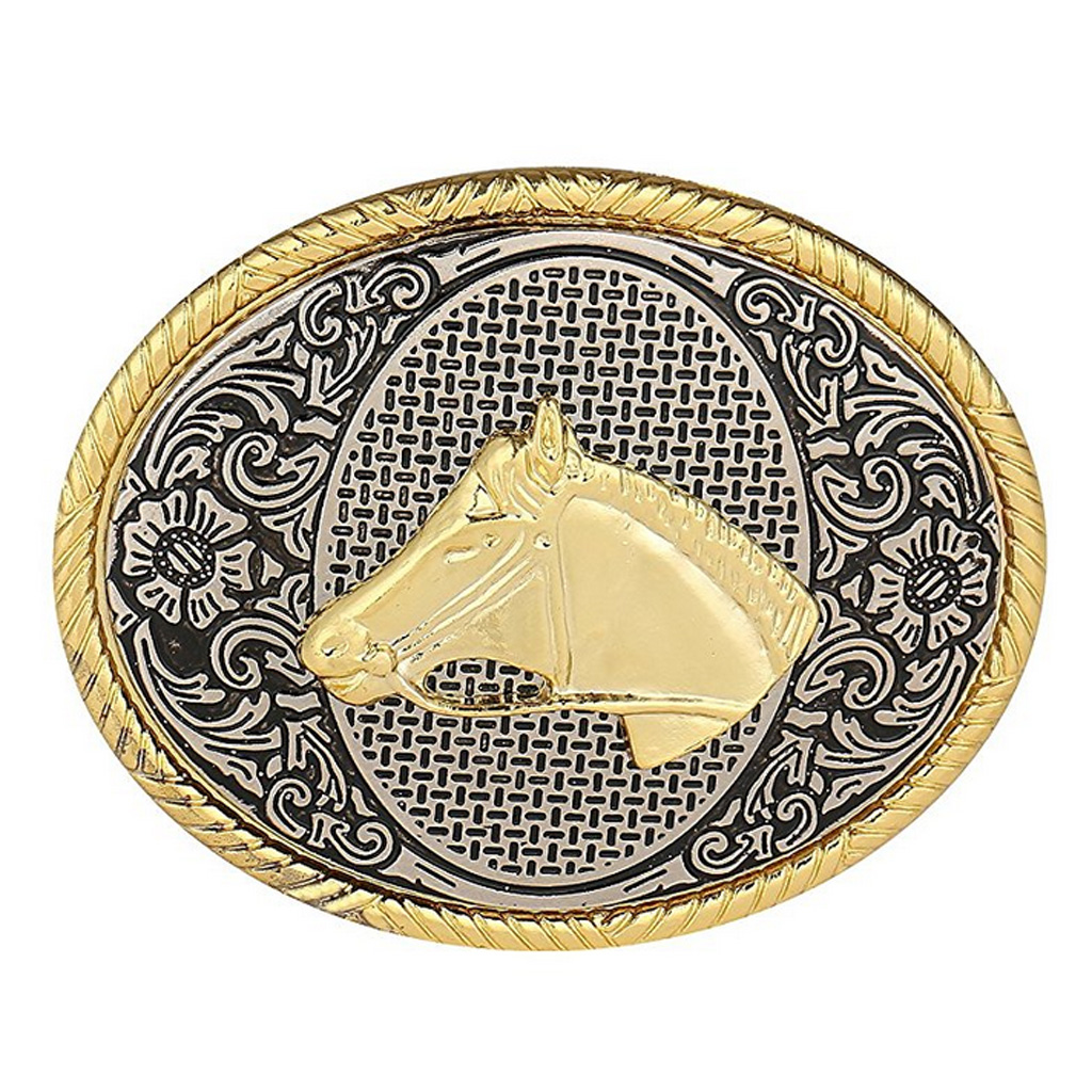 Western Horse Belt Buckle Arabesque Pattern Cowboy Cowgirl Oval For Men Business Casual
