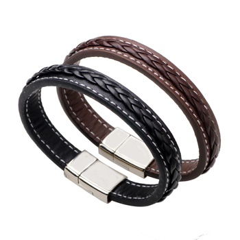 The bracelet of female type leather of delicate and fashionable contracted braid black brown female type sends boudoir honey ado image