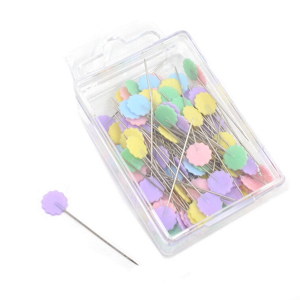 100pcs Mixed Colors Sewing Patchwork Pins Flower Head Pins Sewing Tool Needle Arts High Quality