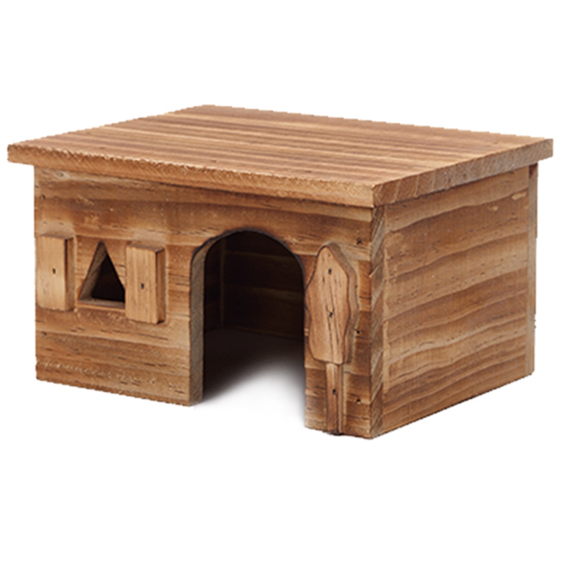 Natural Wood Rectangle Small Animal Pet Hamster House Bed Summer Cool Guinea Pig Hedgehog Chinchilla House Cage Nest Hamster Che