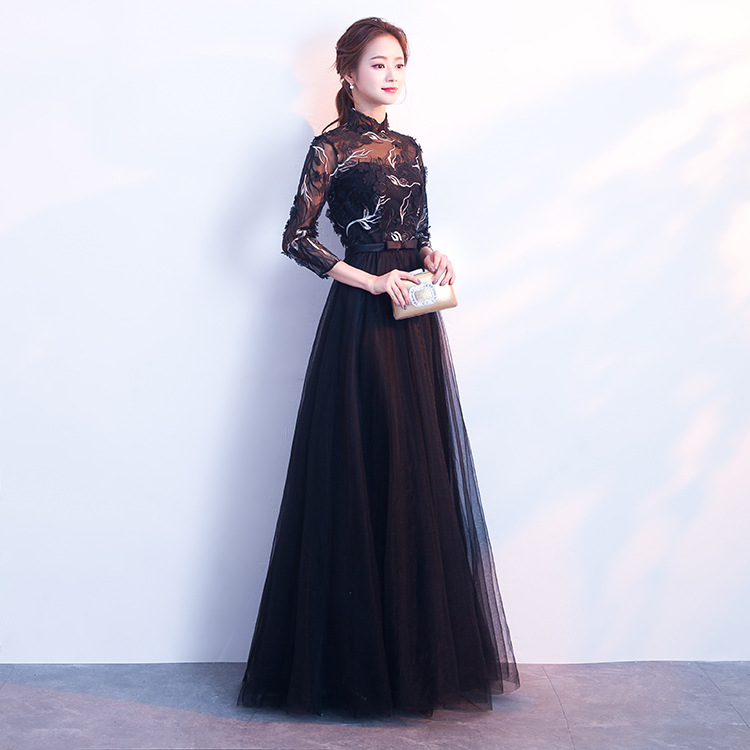 Formal Dress Women's 2019 Autumn And Winter New Style Banquet Party Elegant Black Stand Collar Long Host Slimming Evening Dress