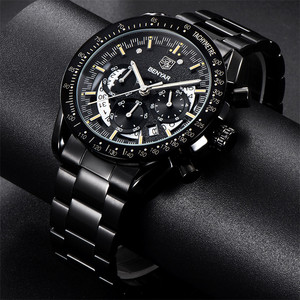 Image 3 - BENYAR Fashion Sport Watch Men Top Brand Luxury Black Male Chronograph Clock Military Stainless Steel Waterproof Wristwatch 5120